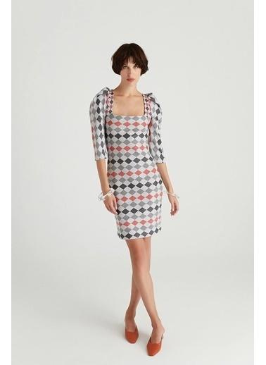 Rue Sırt Bağlama Detaylı Desenli Elbise Gri